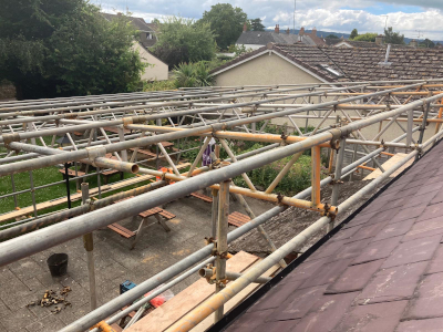 parker scaffold working in west somerset erecting a temporary roofing system